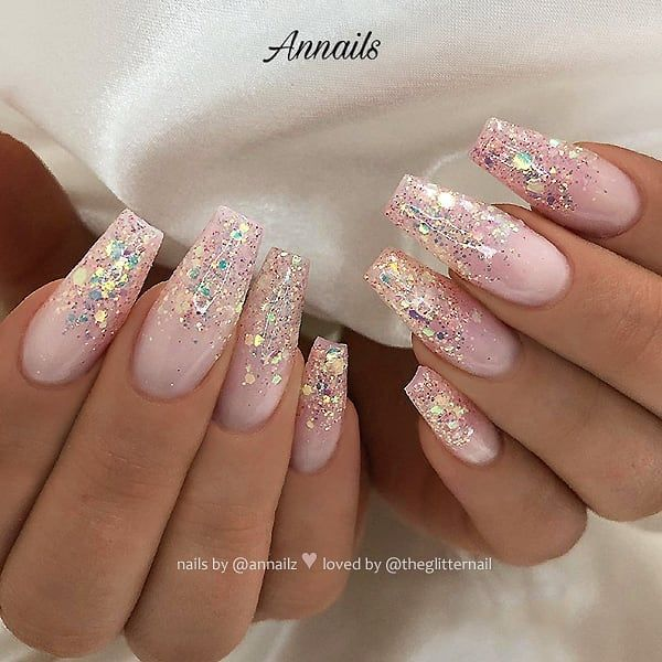 Milky Pink with Glitter Ombre on long Coffin Nails • Nail Artist: @annailz Follow her for more gorgeous nail art des – nails
