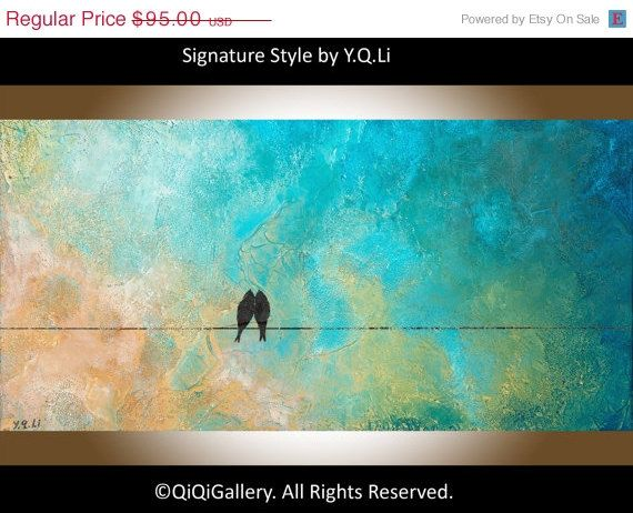 """Birds Painting acrylic painting wedding art Birds on wire mixed medium home decor """"My Love Is Deeper Than the Sea"""" by qiqigallery"""