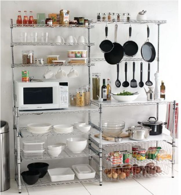 Free Standing Kitchen Storage Mesmerizing Best 25 Metal Kitchen Shelves Ideas On Pinterest  Industrial Review