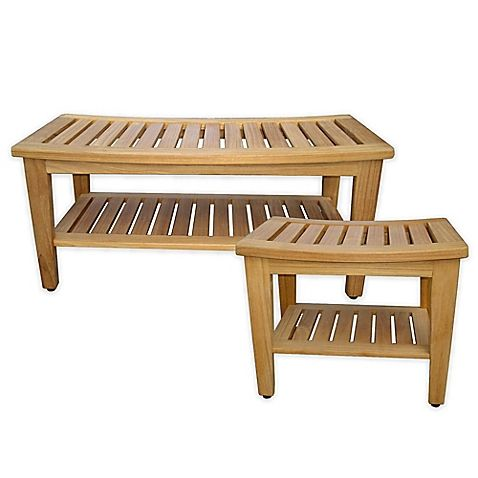 boasting style and function the teak shower bench from haven is a practical update to
