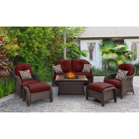 Hanover Outdoor Newport 6-Piece Woven Fire Pit Set with Faux Stone Tile Top, Red