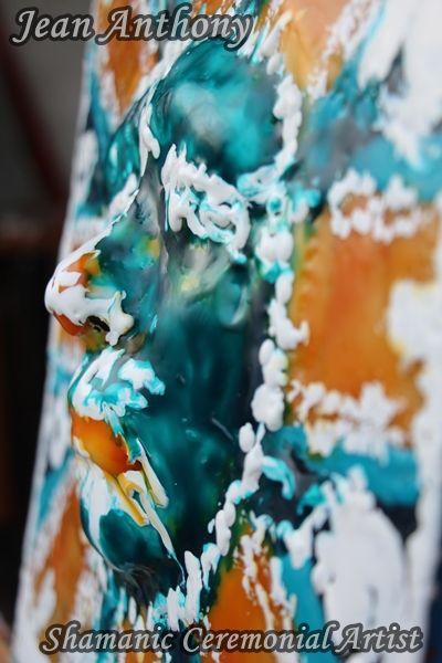 Third Eye Shaman ~ Encaustic Wax on 12x12 Cradled Birch Panel.  Soul Art ~ Private Collection