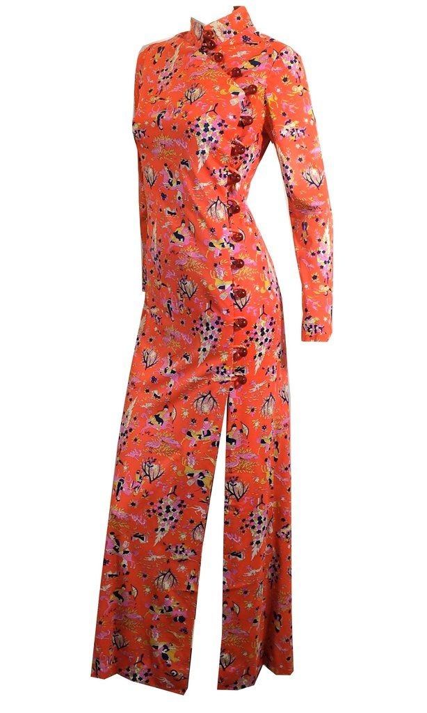 Mandarin Novelty Print Auntie Mame Cheongsam Lounge Gown circa 1970s Dorothea's Closet Vintage Clothing