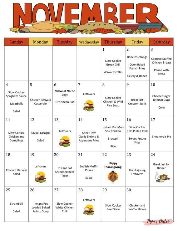 Family Meal Planning In 2020 Thanksgiving Meal Plan Meals For The Week Monthly Meal Planning