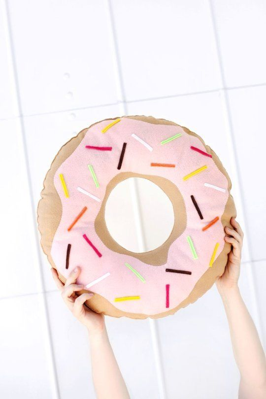 DIY Project Trend: Donuts with Pink Icing & Sprinkles - 1. A sewn cushion from A Beautiful Mess.