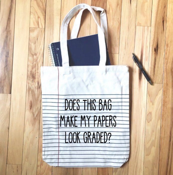 Lehrernotizbuch-Papier-Leinwand-Einkaufstasche, Lehrer-Anerkennungs-Einkaufstasche, Jahresschlussgeschenk, lässt diese Tasche meine Papiere benotet aussehen?