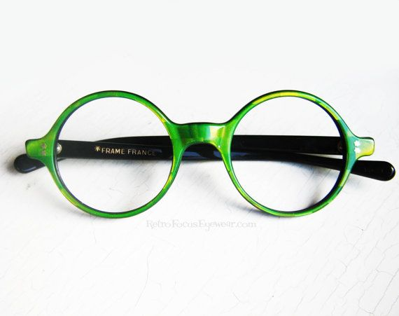 Eyeglass Frames Turning Green : 1960s French Green Iridescent Checkered Round Eyeglass ...