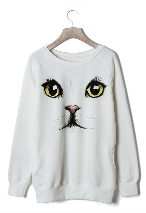 Cute Cat Face White Sweater  by Chicwish