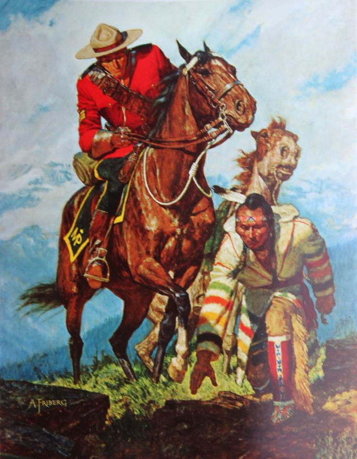 Vintage Canadian Mountie RCMP Horse Indian Guide A Friberg | eBay