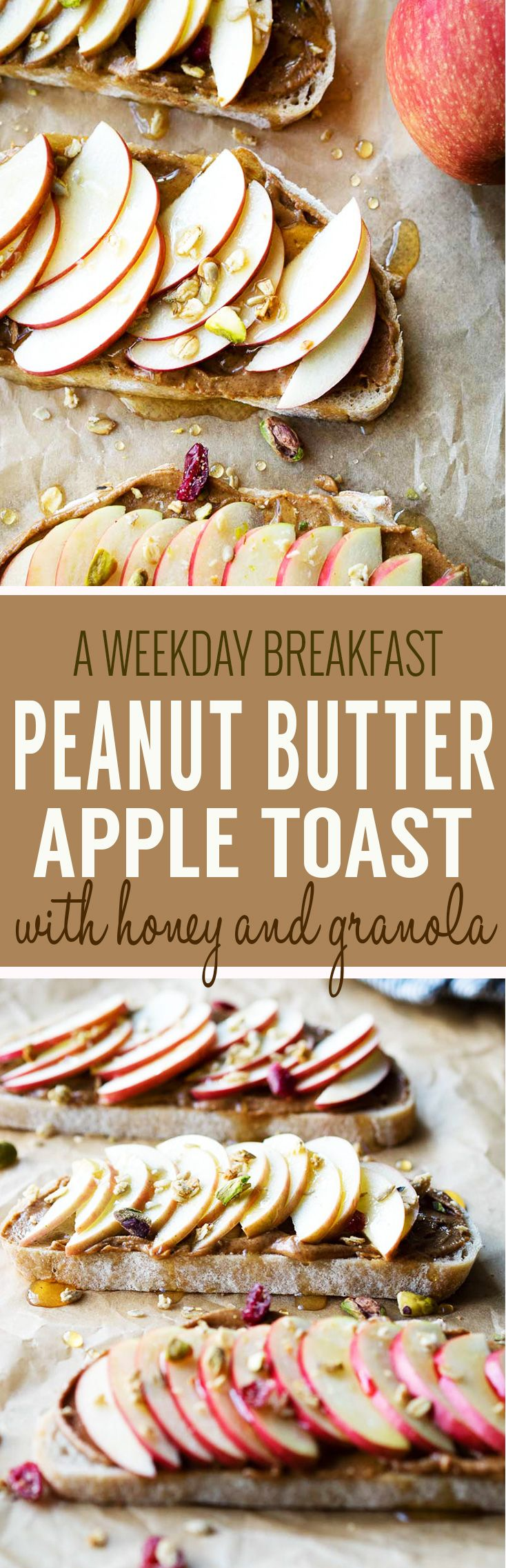 Peanut Butter Apple Toast - a quick weekday breakfast for the entire family. A Healthy, nutritious, and delicious breakfast recipe. #apples #peanutbutter #breakfastrecipe