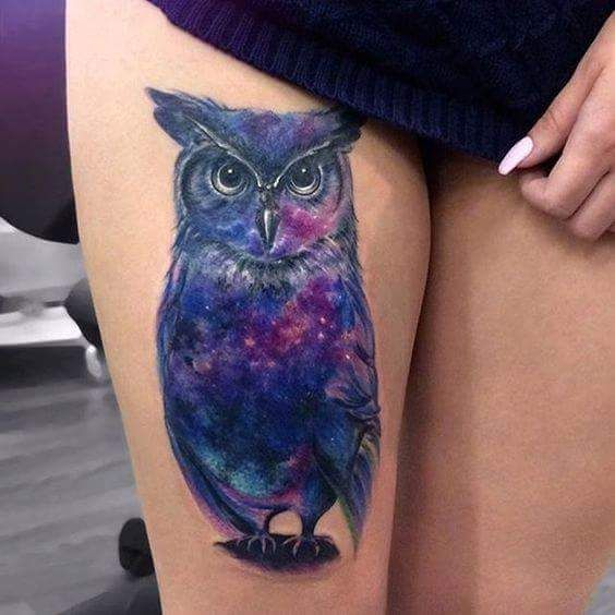 Perfectly Made Colorful Owl Thigh Tattoo