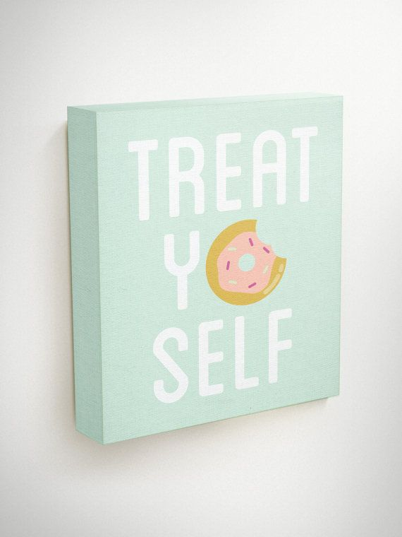 Treat Yo Self Canvas, Parks And Recreation, Kitchen Canvas Art, parks and rec, Wall Art Canvas Quotes, Quotes on canvas, Modern Canvas Art