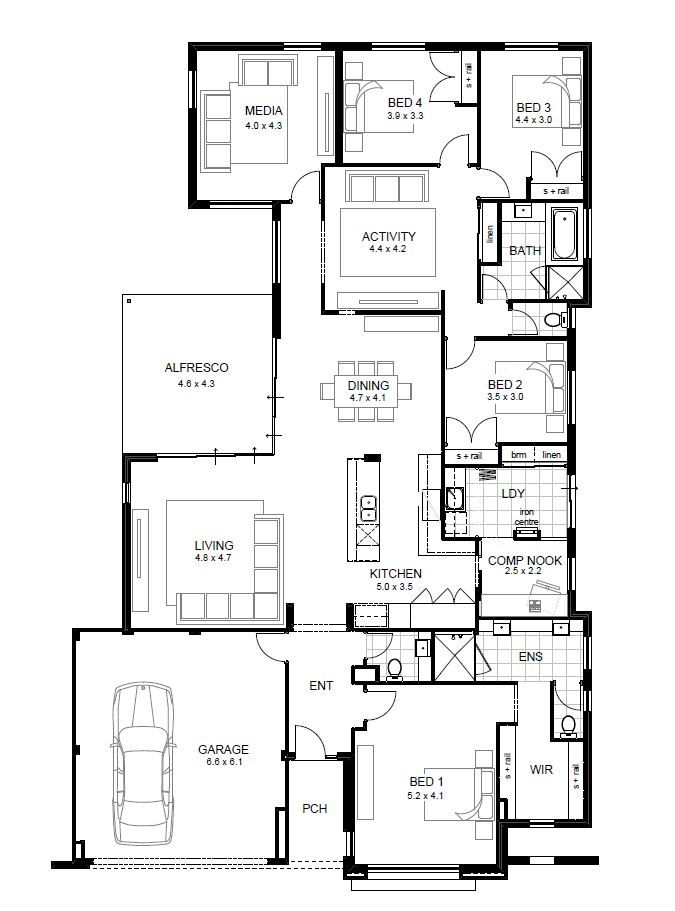New One Story House Plans with High Ceilings