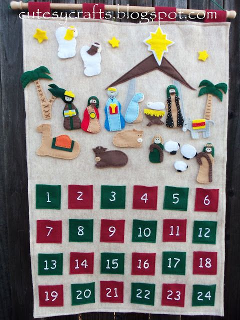 Felt Nativity Advent Calendar - Add one piece every day until Christmas.  Free pattern!  Also has a scripture verse to go with each figure added!