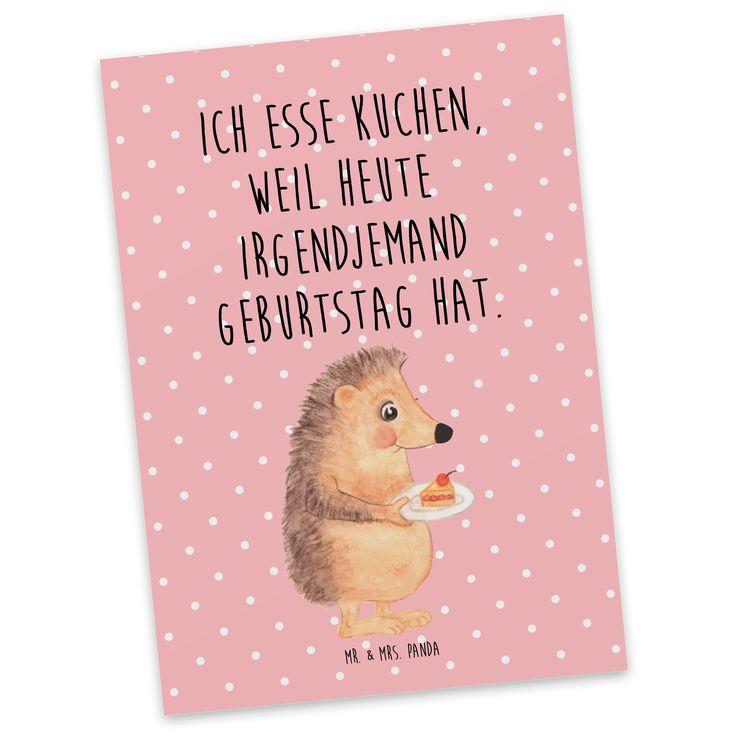 """Postkarte Igel mit Kuchenstück aus Karton 300 Gramm  weiß - Das Original von Mr. & Mrs. Panda.  Jedes wunderschöne Motiv auf unseren Postkarten aus dem Hause Mr. & Mrs. Panda wird mit viel Liebe von Mrs. Panda handgezeichnet und entworfen.  Unsere Postkarten werden mit sehr hochwertigen Tinten gedruckt und sind 40 Jahre UV-Lichtbeständig. Deine Postkarte wird sicher verpackt per Post geliefert.    Über unser Motiv Igel mit Kuchenstück  Unser kleiner Igel aus der """"Small World"""" - Kollektion…"""