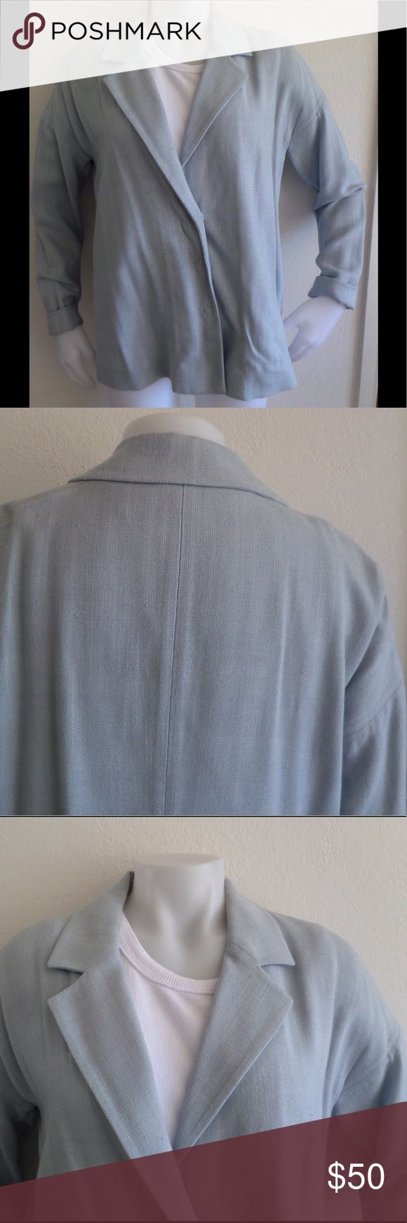 PRADA Light Blue Blazer Sz 46/10 From luxury brand Prada comes this simple elegant blazer. Made of 100% viscose. Notched lapel. Skinny arms. Two snap button closure. In very good condition with wear. Color is a light blue gray. Prada Jackets & Coats Blazers