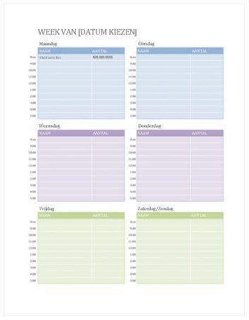 Kalender met wekelijkse afspraken (Word) Science projects