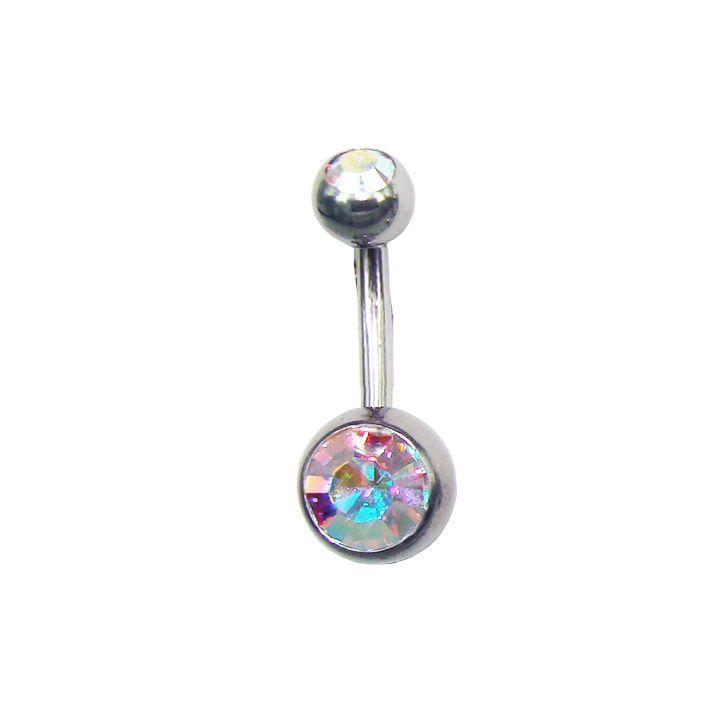 rainbow double crystal belly ring / piercing ombelico doppio cristallo in arcobaleno