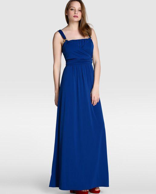 Vestido largo de fiesta en color azul eléctrico. Tiene tirantes con adorno de aplique metálicos y lazo en la cintura.