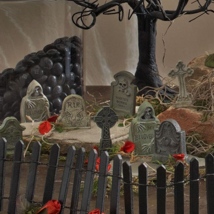 Halloween House Yard Decoration Spooky Department 56 Village Tombstones St/6 New #Department56