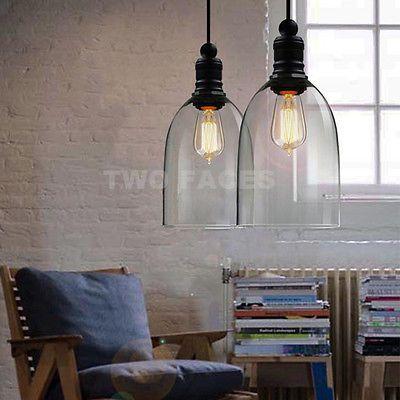 MODERN VINTAGE INDUSTRIAL LOFT BAR METAL GLASS PENDANT LAMP SHADE CEILING LIGHT