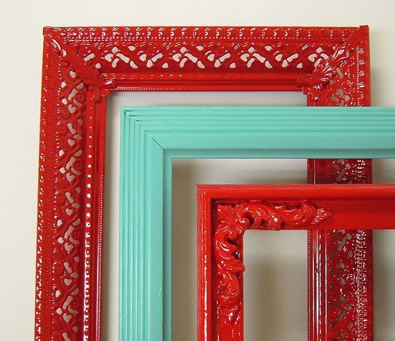 Picture Frame Set Red Aqua Turquoise by MountainCoveAntiques