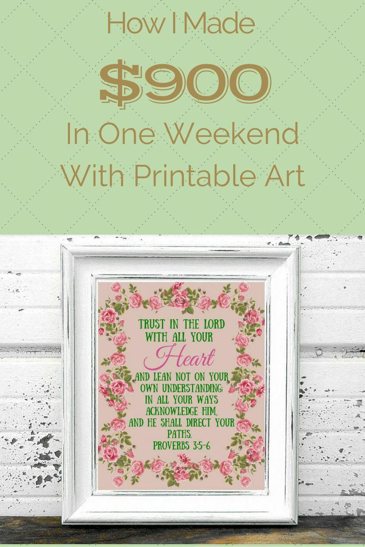 How I made $900 in one weekend with printable art: A great passive way to help a SAHM generate income.   THE FRAGGLE MOMMA