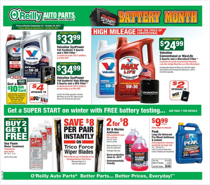 O Reilly Auto Parts September 27 - October 24, 2017 - http://www.olcatalog.com/oreilly-auto/oreilly-auto-parts.html