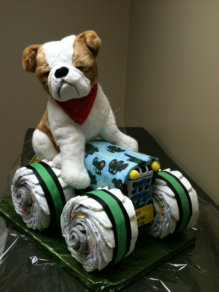 A perfect gift for any baby shower, this John Deere diaper cake can be ordered in different colors, for boys or girls. Can also be made with pull-ups for the potty training toddlers.