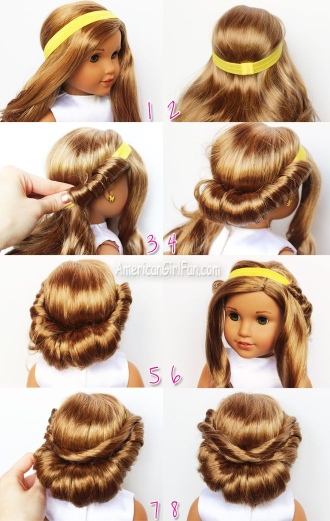 Wrapped Headband Updo American Girl Doll Hairstyle (click through for tutorial)