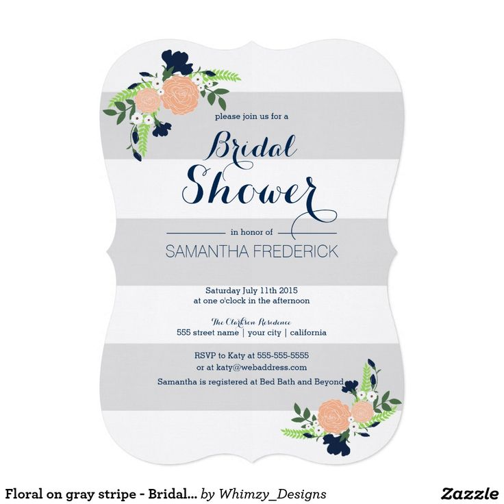 54 best navy and coral wedding color palette images on pinterest floral on gray stripe bridal shower invitation filmwisefo Image collections