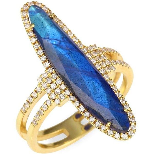 Meira T Diamonds, Blue Labradorite &14K Yellow Gold Ring ($1,955) ❤ liked on Polyvore featuring jewelry, rings, 14k ring, blue diamond rings, gold jewellery, 14 karat gold diamond ring and gold diamond rings