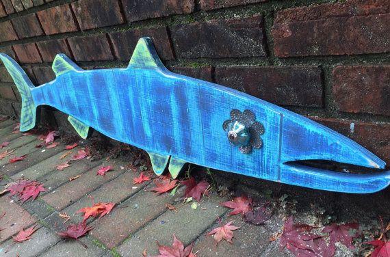 Barracuda Fish Sign Beach House Nautical Coastal by CastawaysHall