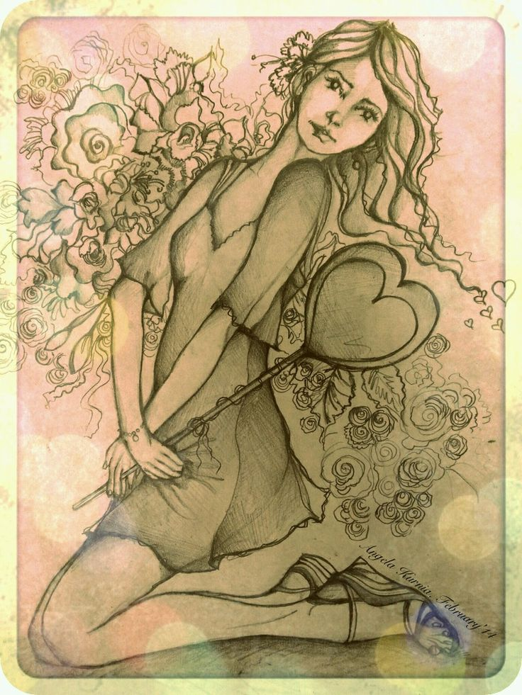 """Valentine"" by Angela Kurnia. Pencil sketch. #illustration #decorative #fashionillustration #pencildrawing #freelanceillustrator"