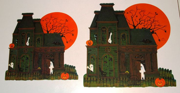 2 vintage hallmark halloween paper diecut decorations haunted house 1970s haunted houses decoration and vintage halloween - Hallmark Halloween Decorations
