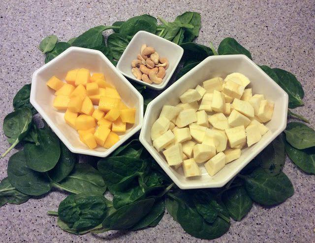 Vintersalat med pastinakker, mango og spinat
