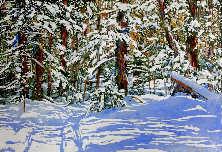 """winter trail / 12 mile bay rd georgian bay 18"""" x 26"""" - micheal zarowsky - watercolour / acrylic painted directly on gessoed birch panel"""