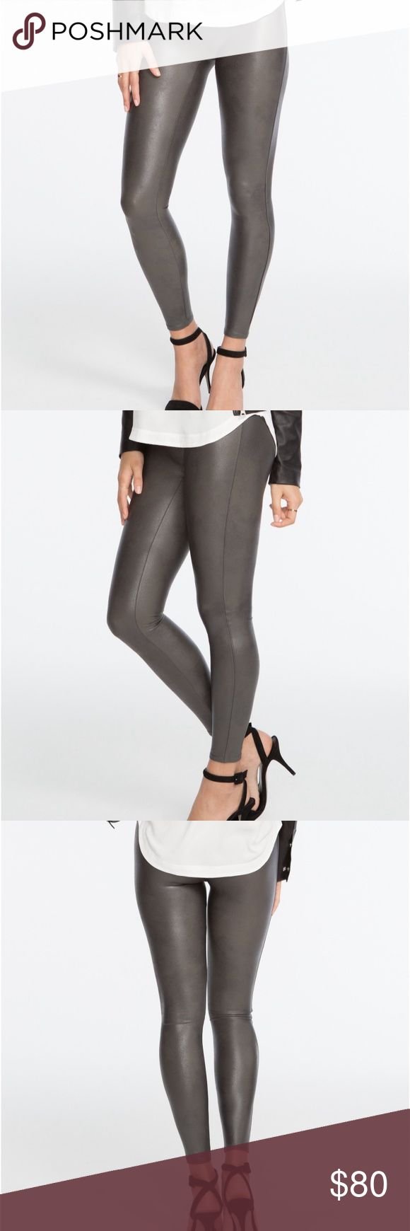 Spanx Faux Leather Leggings NWT Never worn! NWT leather look spanx leggings. Size medium (size 6-8) mid rise, true to size, medium control and shape for tummy, hips, thighs and rear. 27 inch inseam, 8 inch leg opening, 9 inch front rise and 12 inch back rise. SPANX Pants Leggings