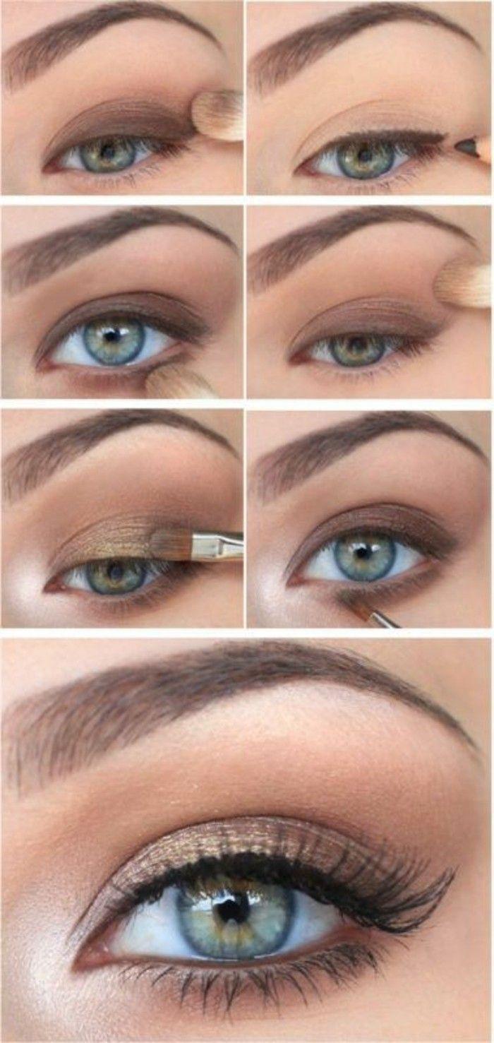 макияж миндалевидные глаза, зеленые голубые глаза