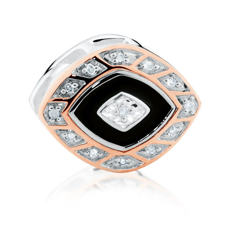 Diamond set, rose gold  sterling silver charm (11989950) #rosegold #emmaandroe