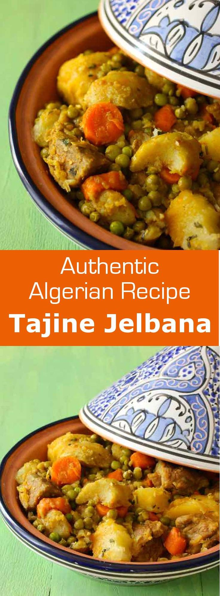Tajine jelbana is a traditional North African meat stew prepared with peas, artichoke, potatoes and carrots. #algeria #tunisia #maghreb…
