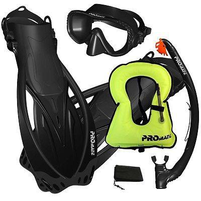 Snorkels and Sets 71162: Promate Snorkeling Mask Dry Snorkel Fins Gear Set With Snorkel Vest Jacket -> BUY IT NOW ONLY: $59.95 on eBay!