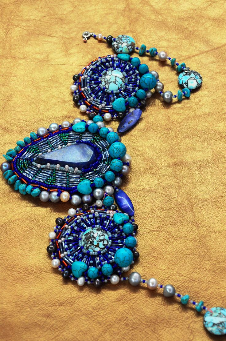 Couture Lapis Stone Necklace with Natural sea pearls, Mother of pearl beads and leather interior (8 hours to make)
