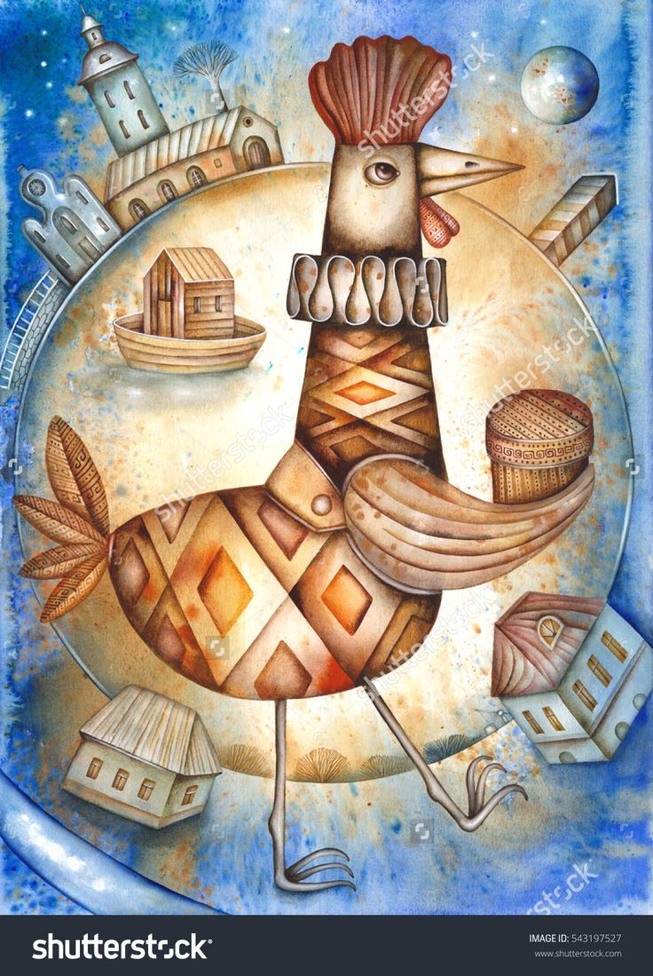 Card With Cartoon Rooster by Eugene Ivanov  #eugeneivanov #cubism #avantgarde #threedimensional #cubist #artwork #cubistartwork #abstract #geometric #association #@eugene_1_ivanov