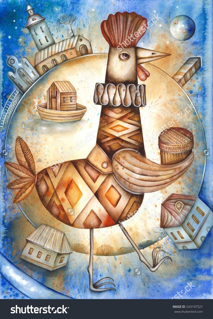 Card With Cartoon Rooster by Eugene Ivanov  #eugeneivanov #cubism #avantgarde #threedimensional #cubist #artwork #cubistartwork #abstract #geometric #association #@eugene_1_ivanov