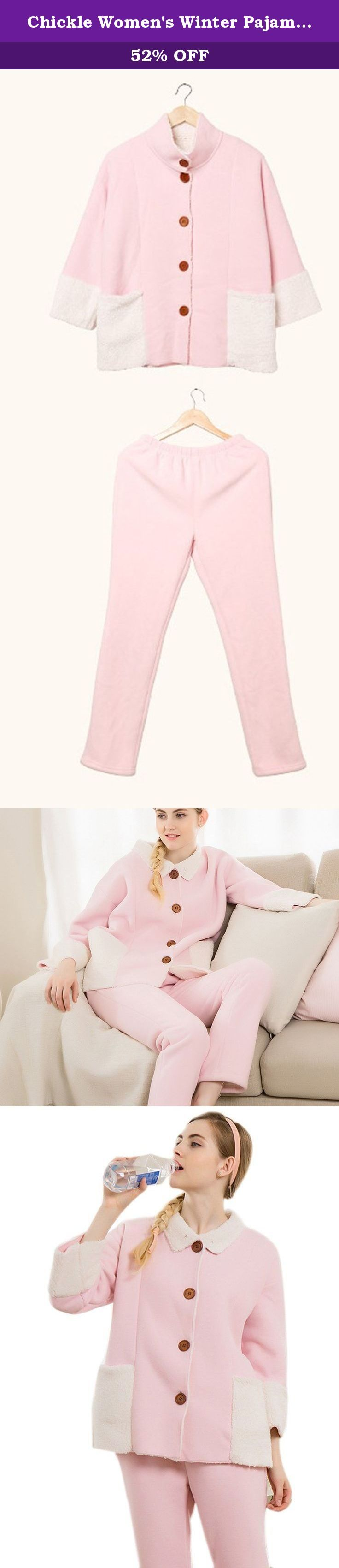 Chickle Women's Winter Pajamas Thermal Fleece Home Sleepwear Set Pink. Home sleepwear set featuring thermal fleece pajama designed with 3/4 sleeves and extra large pocket,candy color contrast sweety housecoat style for girls and ladies.
