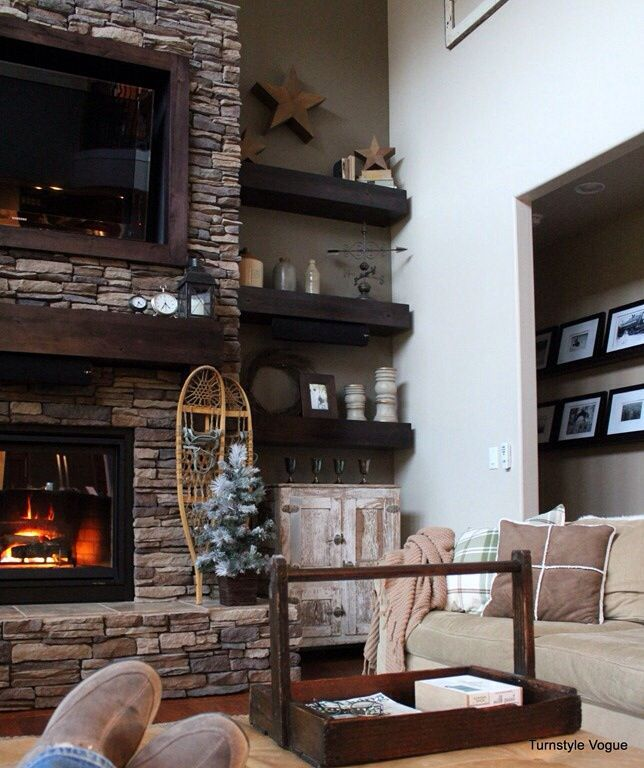 Stone Fireplace With Built In Cabinets: Fireplaces, Floating Shelves