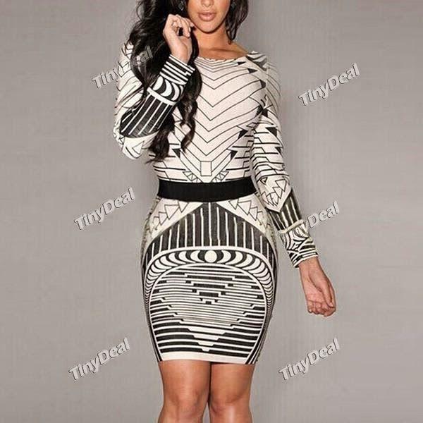 Интернет - магазины : Сексуальное женское платье с геометрическими рисун...