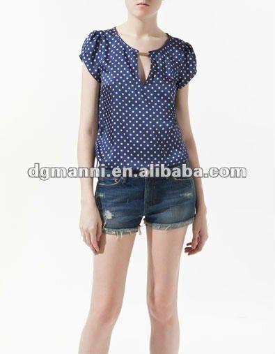 la señora bonita para prendas de vestir de manga corta lunares blusa-Mujer Blusas y Tops-Identificación del producto:573218129-spanish.alibaba.com