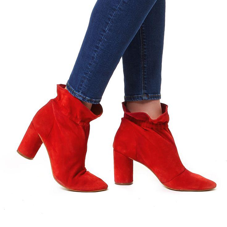 RAGLAN KG Kurt Geiger Raglan Red Suede High Heel Ankle Boots by KG KURT GEIGER